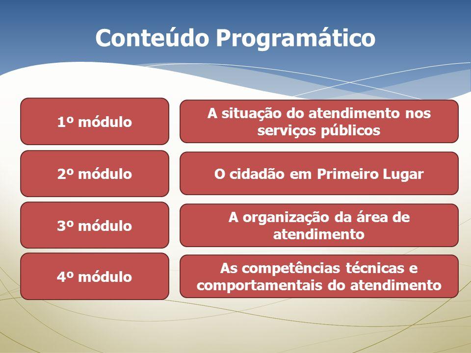 Conteúdo Programático 1º módulo A situação do atendimento nos serviços públicos 2º módulo O cidadão em Primeiro Lugar 3º módulo A organização da área