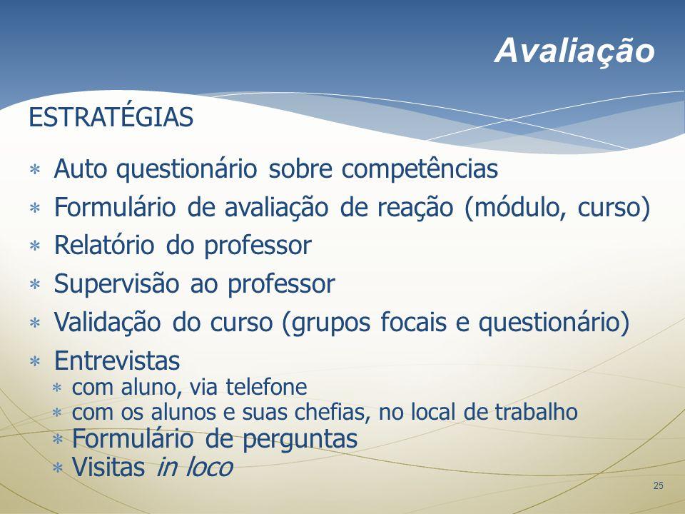 25 ESTRATÉGIAS Auto questionário sobre competências Formulário de avaliação de reação (módulo, curso) Relatório do professor Supervisão ao professor V
