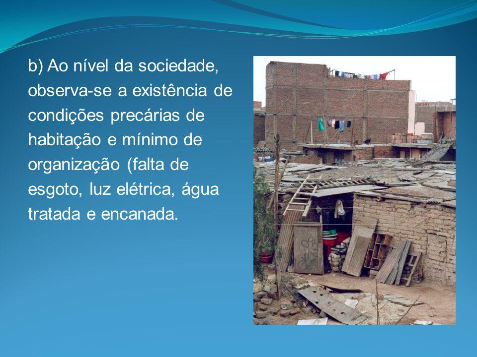 b) Ao nível da sociedade, observa-se a existência de condições precárias de habitação e mínimo de organização (falta de esgoto, luz elétrica, água tra