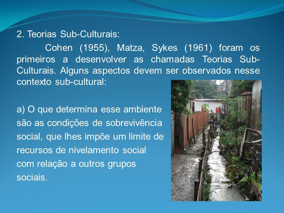 2. Teorias Sub-Culturais: Cohen (1955), Matza, Sykes (1961) foram os primeiros a desenvolver as chamadas Teorias Sub- Culturais. Alguns aspectos devem