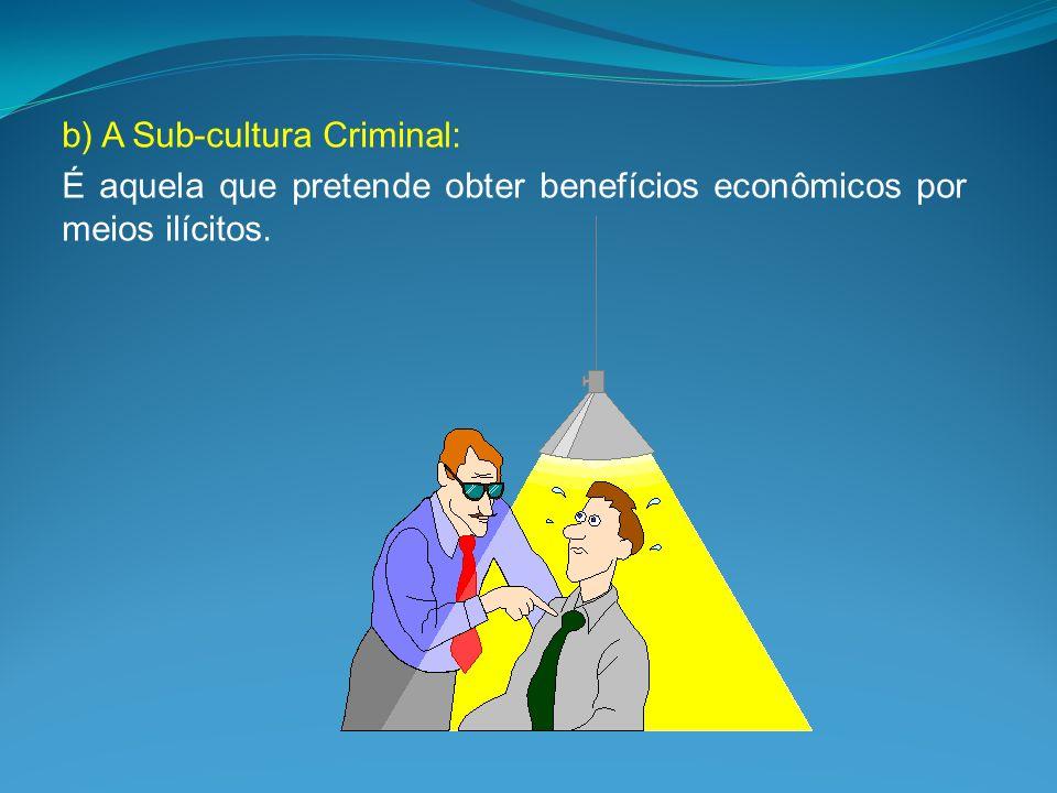 b) A Sub-cultura Criminal: É aquela que pretende obter benefícios econômicos por meios ilícitos.