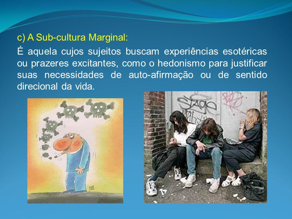 c) A Sub-cultura Marginal: É aquela cujos sujeitos buscam experiências esotéricas ou prazeres excitantes, como o hedonismo para justificar suas necess