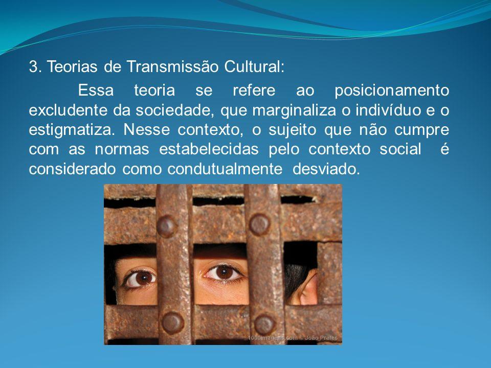 3. Teorias de Transmissão Cultural: Essa teoria se refere ao posicionamento excludente da sociedade, que marginaliza o indivíduo e o estigmatiza. Ness