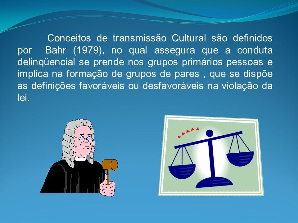 Conceitos de transmissão Cultural são definidos por Bahr (1979), no qual assegura que a conduta delinqüencial se prende nos grupos primários pessoas e
