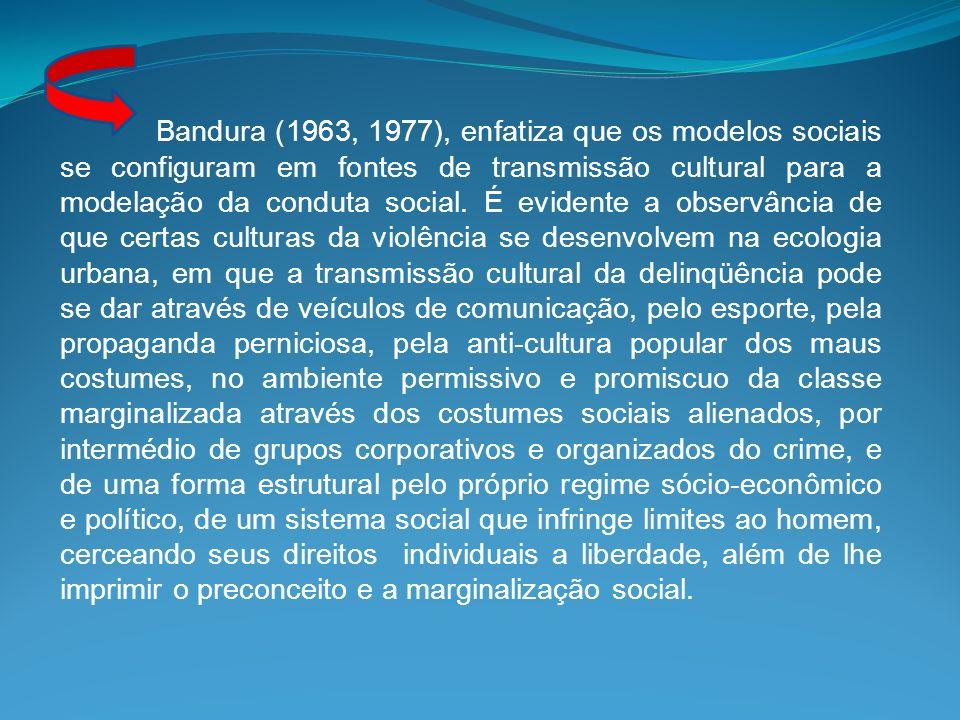 Bandura (1963, 1977), enfatiza que os modelos sociais se configuram em fontes de transmissão cultural para a modelação da conduta social. É evidente a