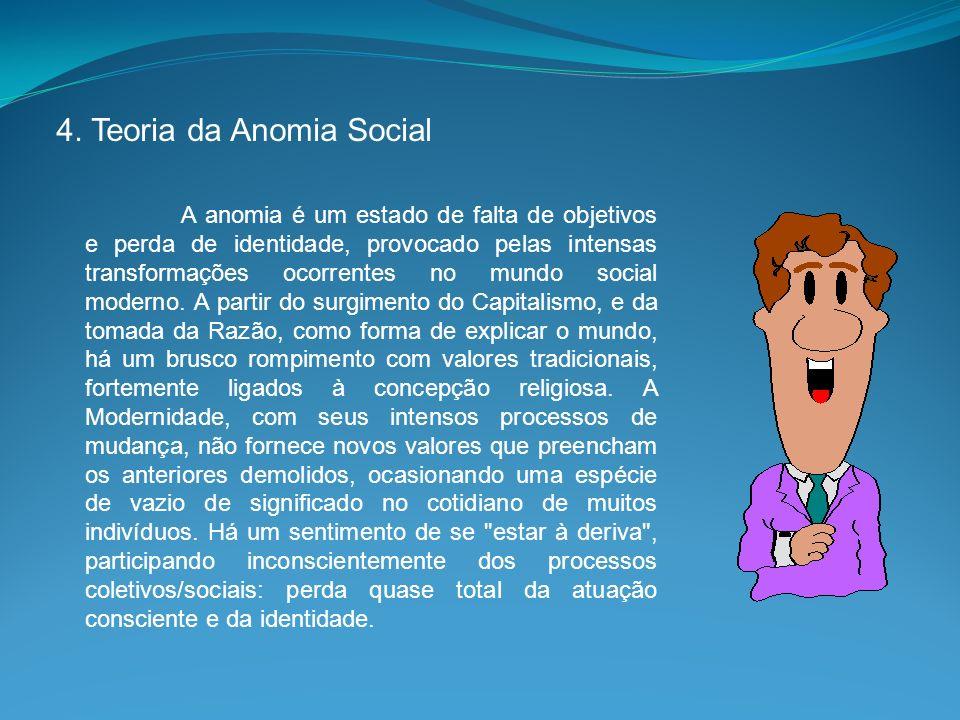 4. Teoria da Anomia Social A anomia é um estado de falta de objetivos e perda de identidade, provocado pelas intensas transformações ocorrentes no mun