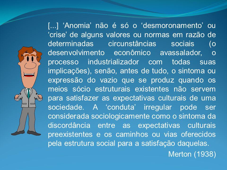 [...] Anomia não é só o desmoronamento ou crise de alguns valores ou normas em razão de determinadas circunstâncias sociais (o desenvolvimento econômi