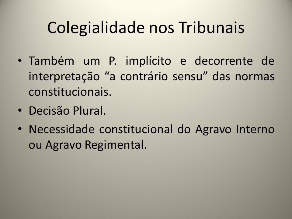 Colegialidade nos Tribunais Também um P. implícito e decorrente de interpretação a contrário sensu das normas constitucionais. Decisão Plural. Necessi