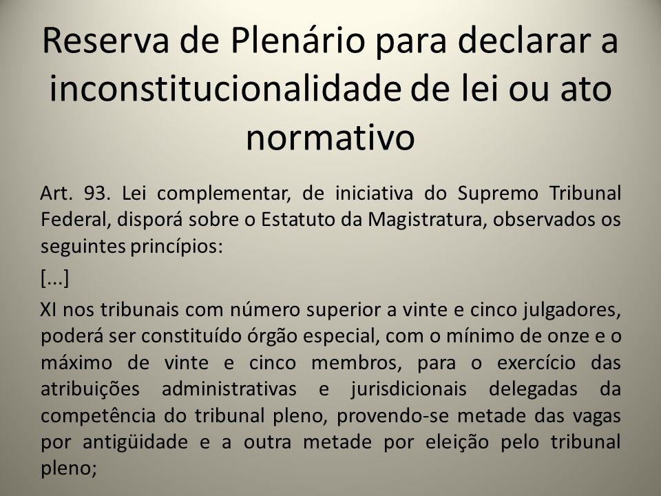 Reserva de Plenário para declarar a inconstitucionalidade de lei ou ato normativo Art. 93. Lei complementar, de iniciativa do Supremo Tribunal Federal
