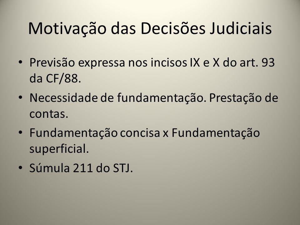 Motivação das Decisões Judiciais Previsão expressa nos incisos IX e X do art. 93 da CF/88. Necessidade de fundamentação. Prestação de contas. Fundamen