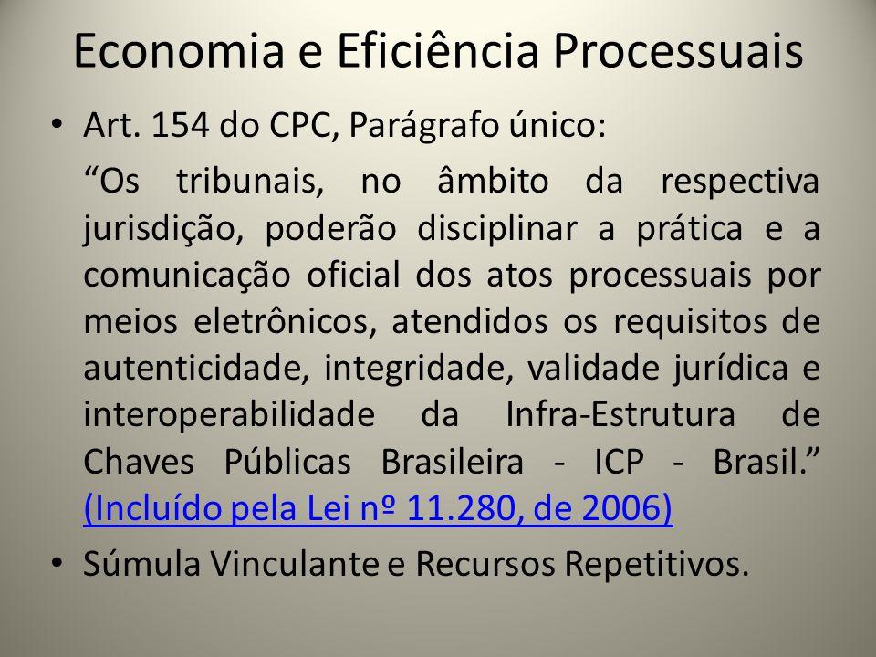 Economia e Eficiência Processuais Art. 154 do CPC, Parágrafo único: Os tribunais, no âmbito da respectiva jurisdição, poderão disciplinar a prática e