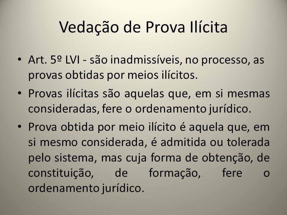 Vedação de Prova Ilícita Art. 5º LVI - são inadmissíveis, no processo, as provas obtidas por meios ilícitos. Provas ilícitas são aquelas que, em si me