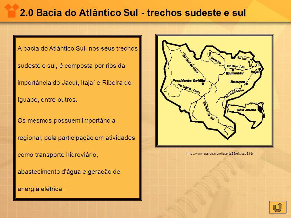 2.0 Bacia do Atlântico Sul - trechos sudeste e sul A bacia do Atlântico Sul, nos seus trechos sudeste e sul, é composta por rios da importância do Jac