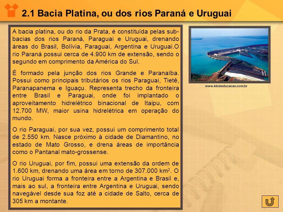 2.1 Bacia Platina, ou dos rios Paraná e Uruguai A bacia platina, ou do rio da Prata, é constituída pelas sub- bacias dos rios Paraná, Paraguai e Urugu