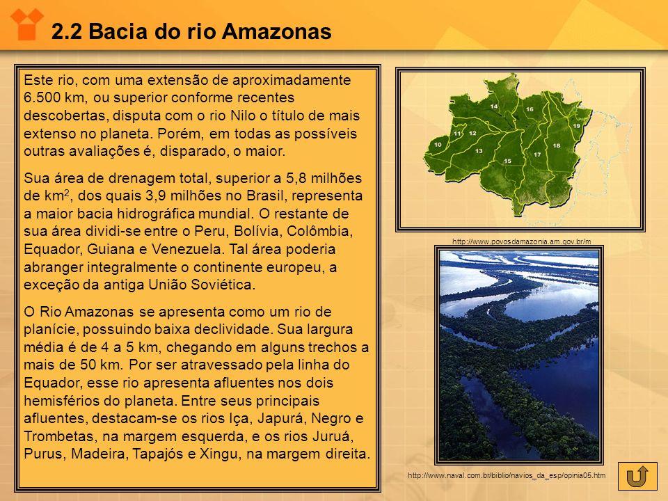 2.2 Bacia do rio Amazonas Este rio, com uma extensão de aproximadamente 6.500 km, ou superior conforme recentes descobertas, disputa com o rio Nilo o