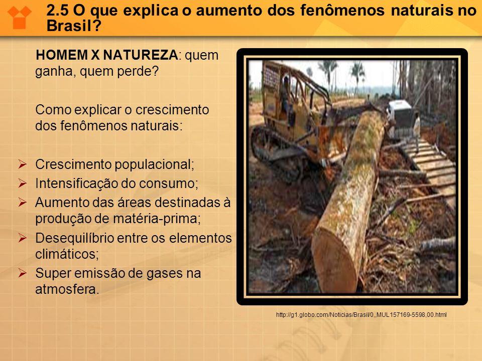 2.5 O que explica o aumento dos fenômenos naturais no Brasil? HOMEM X NATUREZA: quem ganha, quem perde? Como explicar o crescimento dos fenômenos natu