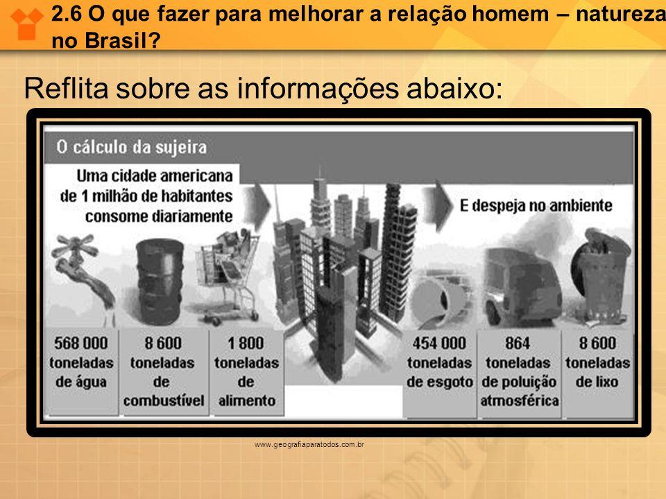 2.6 O que fazer para melhorar a relação homem – natureza no Brasil? Reflita sobre as informações abaixo: www.geografiaparatodos.com.br