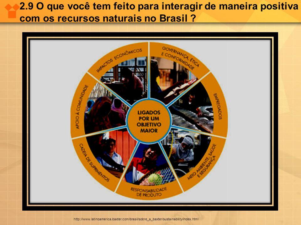 2.9 O que você tem feito para interagir de maneira positiva com os recursos naturais no Brasil ? http://www.latinoamerica.baxter.com/brasil/sobre_a_ba