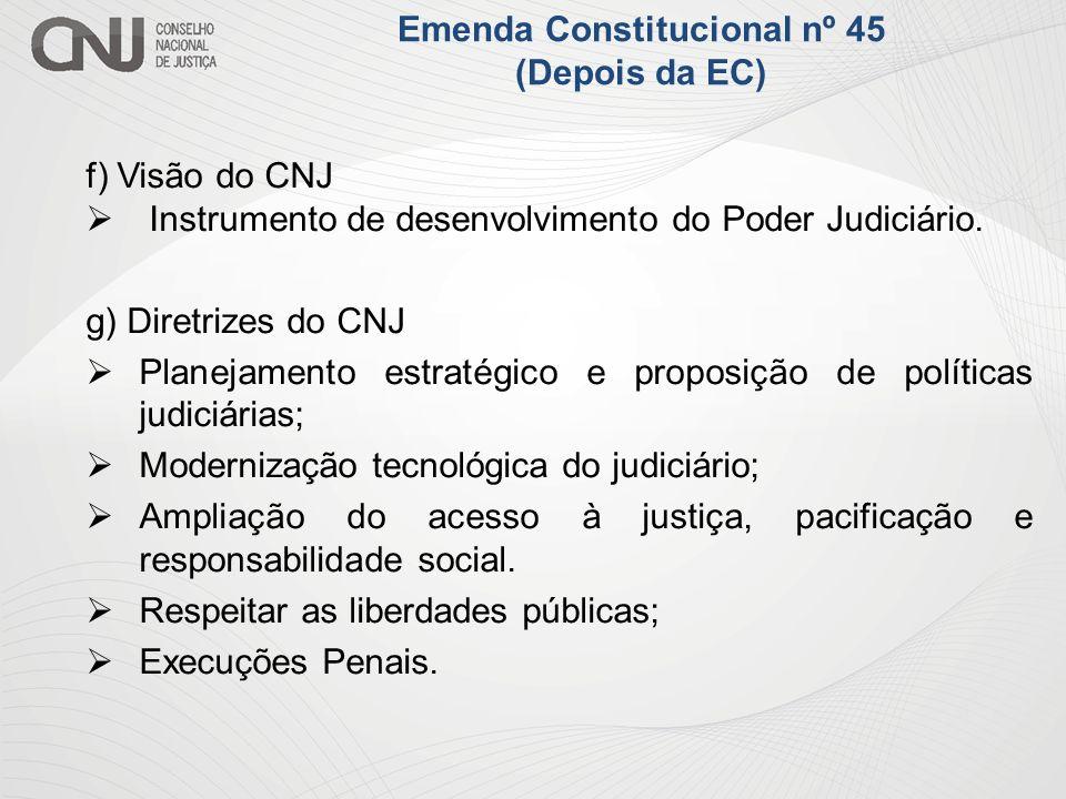 f) Visão do CNJ Instrumento de desenvolvimento do Poder Judiciário. g) Diretrizes do CNJ Planejamento estratégico e proposição de políticas judiciária