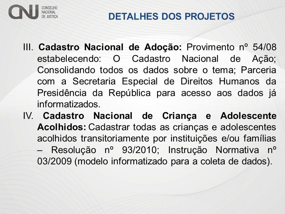 III. Cadastro Nacional de Adoção: Provimento nº 54/08 estabelecendo: O Cadastro Nacional de Ação; Consolidando todos os dados sobre o tema; Parceria c