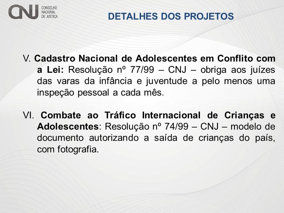 V. Cadastro Nacional de Adolescentes em Conflito com a Lei: Resolução nº 77/99 – CNJ – obriga aos juízes das varas da infância e juventude a pelo meno