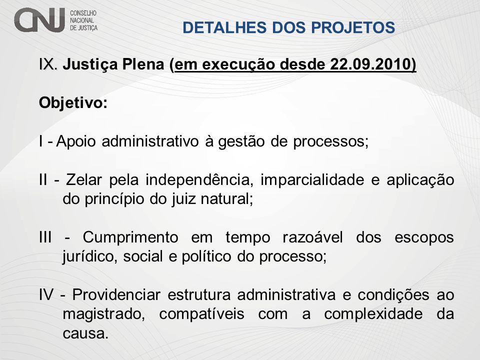 IX. IX. Justiça Plena (em execução desde 22.09.2010) Objetivo: I - Apoio administrativo à gestão de processos; II - Zelar pela independência, imparcia
