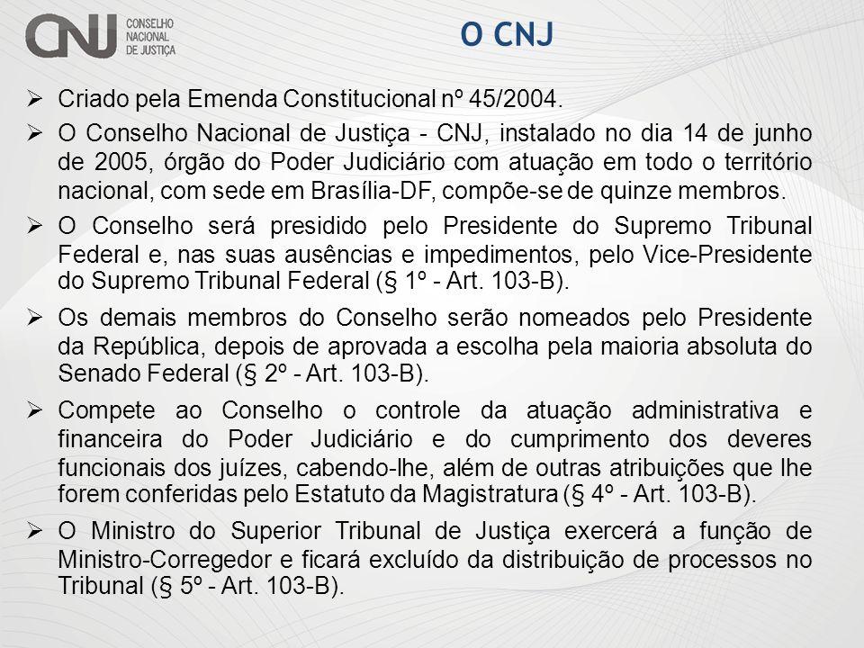 O CNJ Criado pela Emenda Constitucional nº 45/2004. O Conselho Nacional de Justiça - CNJ, instalado no dia 14 de junho de 2005, órgão do Poder Judiciá