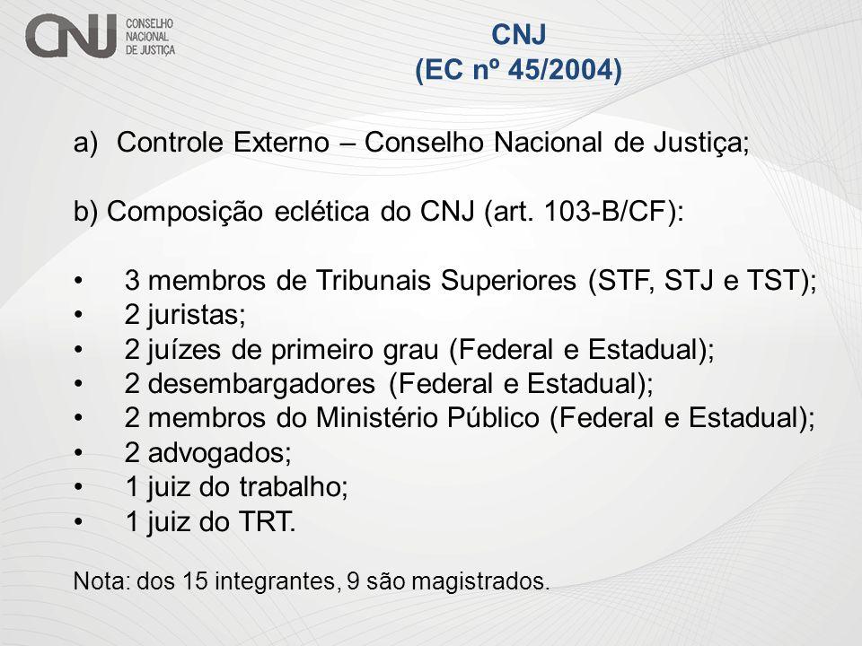 a)Controle Externo – Conselho Nacional de Justiça; b) Composição eclética do CNJ (art. 103-B/CF): 3 membros de Tribunais Superiores (STF, STJ e TST);
