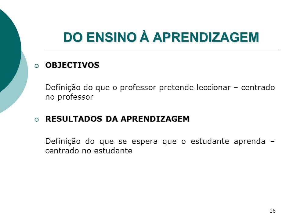 16 DO ENSINO À APRENDIZAGEM OBJECTIVOS OBJECTIVOS Definição do que o professor pretende leccionar – centrado no professor RESULTADOS DA APRENDIZAGEM R