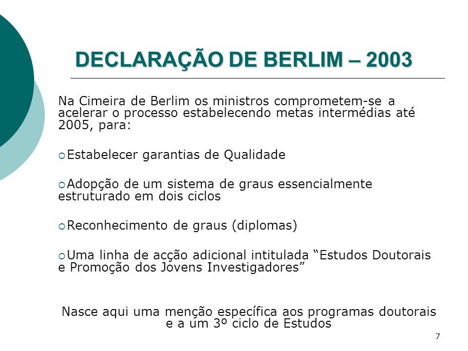 7 DECLARAÇÃO DE BERLIM – 2003 Na Cimeira de Berlim os ministros comprometem-se a acelerar o processo estabelecendo metas intermédias até 2005, para: E