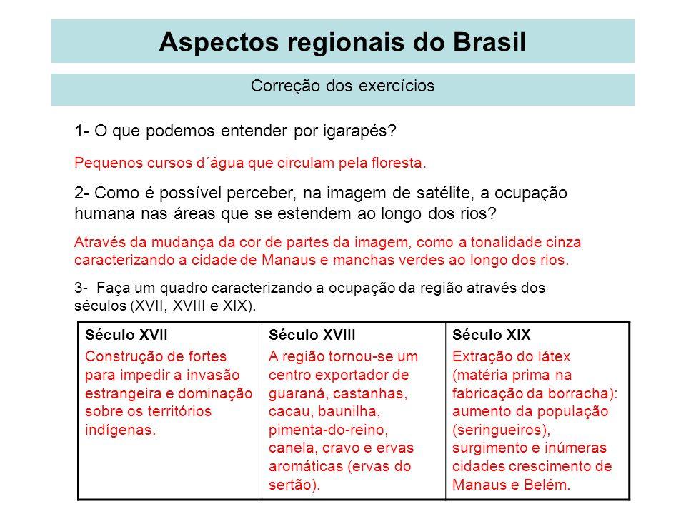 Aspectos regionais do Brasil Correção dos exercícios 1- O que podemos entender por igarapés? Pequenos cursos d´água que circulam pela floresta. 2- Com