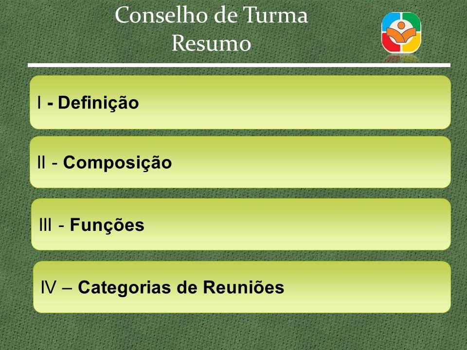 Resumo III - Funções IV – Categorias de Reuniões II - Composição I - Definição
