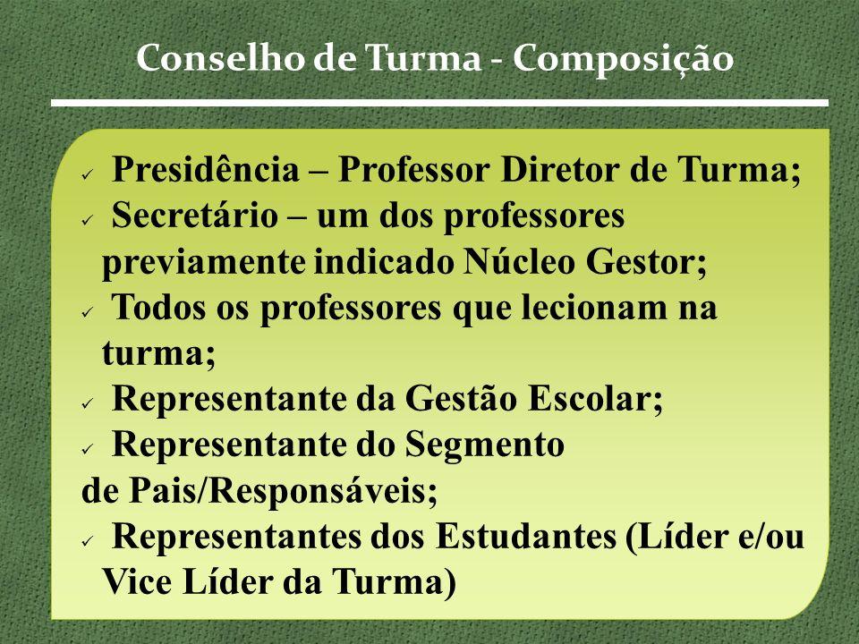 Presidência – Professor Diretor de Turma; Secretário – um dos professores previamente indicado Núcleo Gestor; Todos os professores que lecionam na turma; Representante da Gestão Escolar; Representante do Segmento de Pais/Responsáveis; Representantes dos Estudantes (Líder e/ou Vice Líder da Turma) Conselho de Turma - Composição