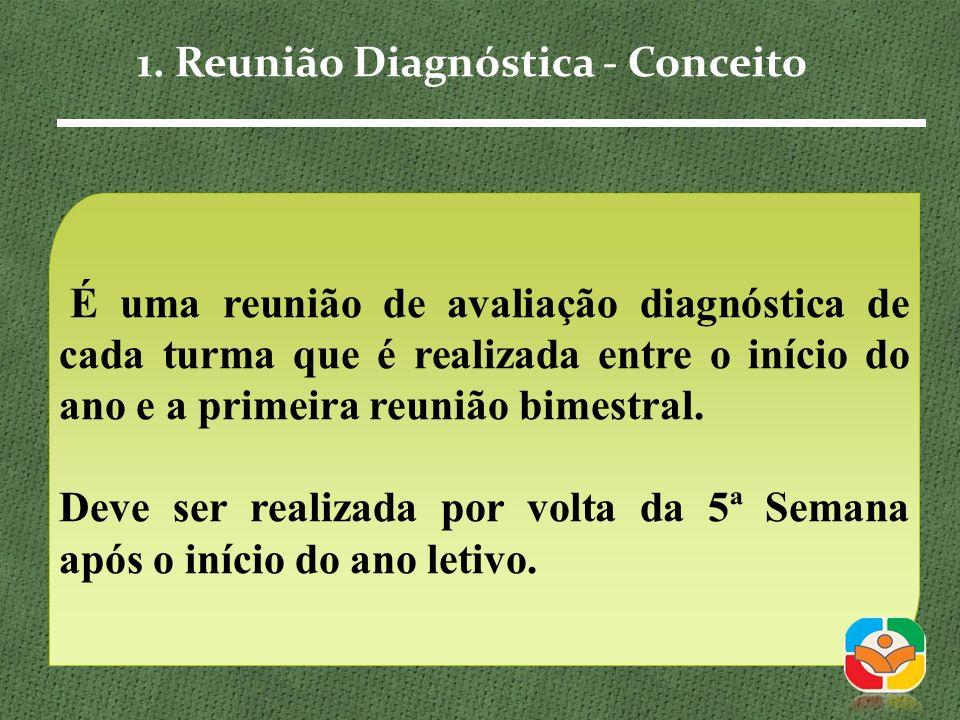 É uma reunião de avaliação diagnóstica de cada turma que é realizada entre o início do ano e a primeira reunião bimestral.