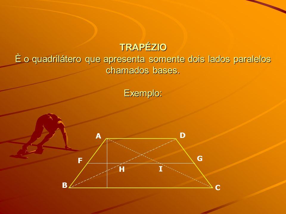 TRAPÉZIO È o quadrilátero que apresenta somente dois lados paralelos chamados bases. Exemplo: A B D C G F H I