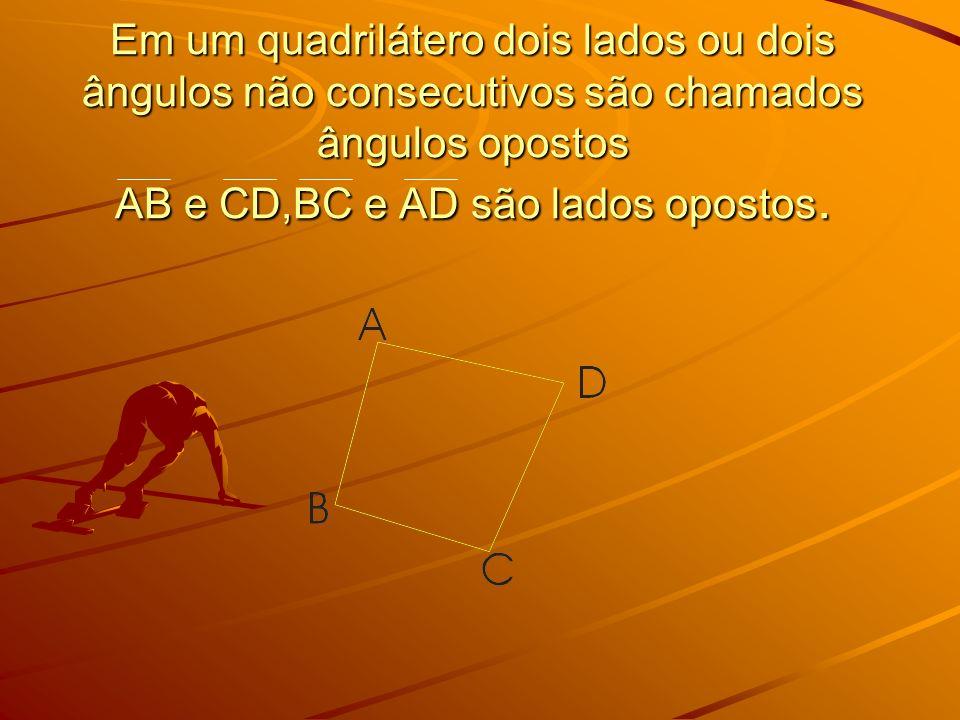 Elementos na figura abaixo temos: Vértices: A, B, C e D Lados: AB, BC,CD e DA Diagonais: AC e BD ângulos internos ou ângulos do quadrilátero ABCD: A, B, C e D Quadrilátero ABCD