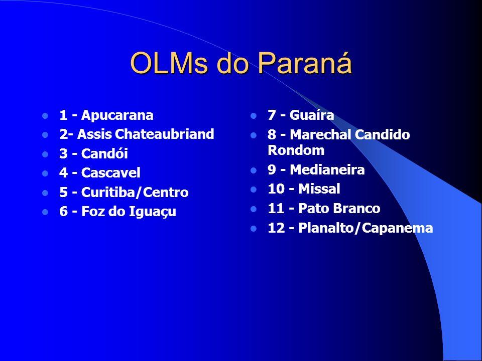 OLMs do Paraná 1 - Apucarana 2- Assis Chateaubriand 3 - Candói 4 - Cascavel 5 - Curitiba/Centro 6 - Foz do Iguaçu 7 - Guaíra 8 - Marechal Candido Rondom 9 - Medianeira 10 - Missal 11 - Pato Branco 12 - Planalto/Capanema