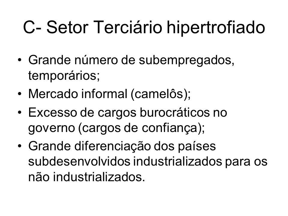 C- Setor Terciário hipertrofiado Grande número de subempregados, temporários; Mercado informal (camelôs); Excesso de cargos burocráticos no governo (c