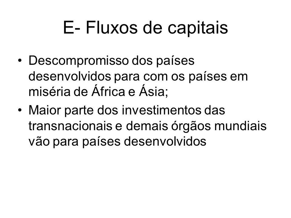 E- Fluxos de capitais Descompromisso dos países desenvolvidos para com os países em miséria de África e Ásia; Maior parte dos investimentos das transn