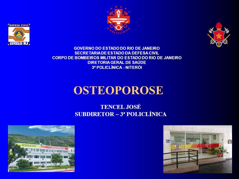 INTRODUÇÃO A osteoporose é a perda progressiva e anormal de massa óssea, que ocorre a partir dos 50 anos de idade, causando fraturas nas vértebras (coluna), terço distal do rádio (antebraço), fêmur (quadril) e úmero (braço).