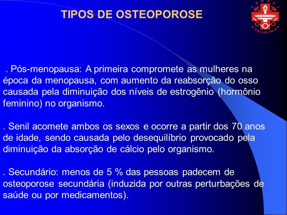 . Pós-menopausa: A primeira compromete as mulheres na época da menopausa, com aumento da reabsorção do osso causada pela diminuição dos níveis de estr