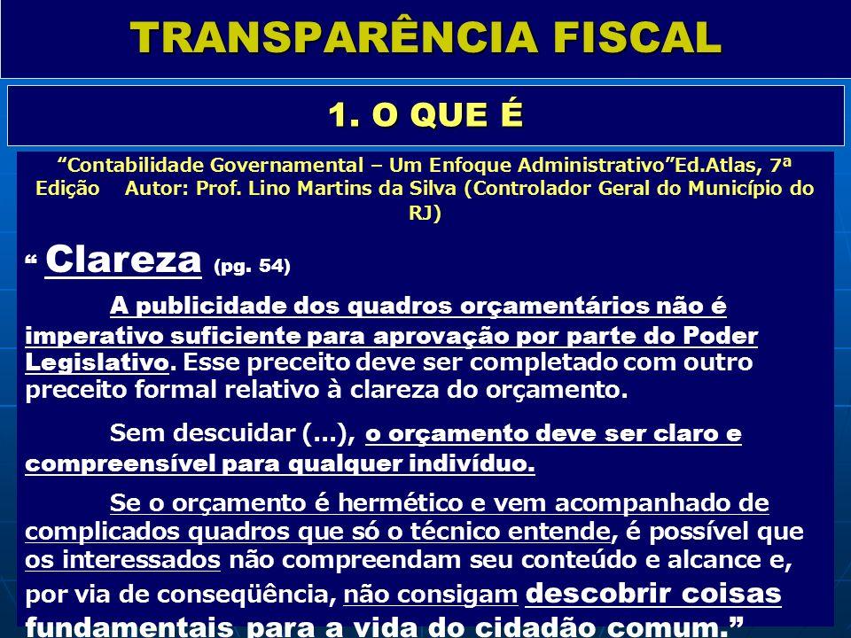 TRANSPARÊNCIA FISCAL 1. O QUE É Contabilidade Governamental – Um Enfoque AdministrativoEd.Atlas, 7ª Edição Autor: Prof. Lino Martins da Silva (Control