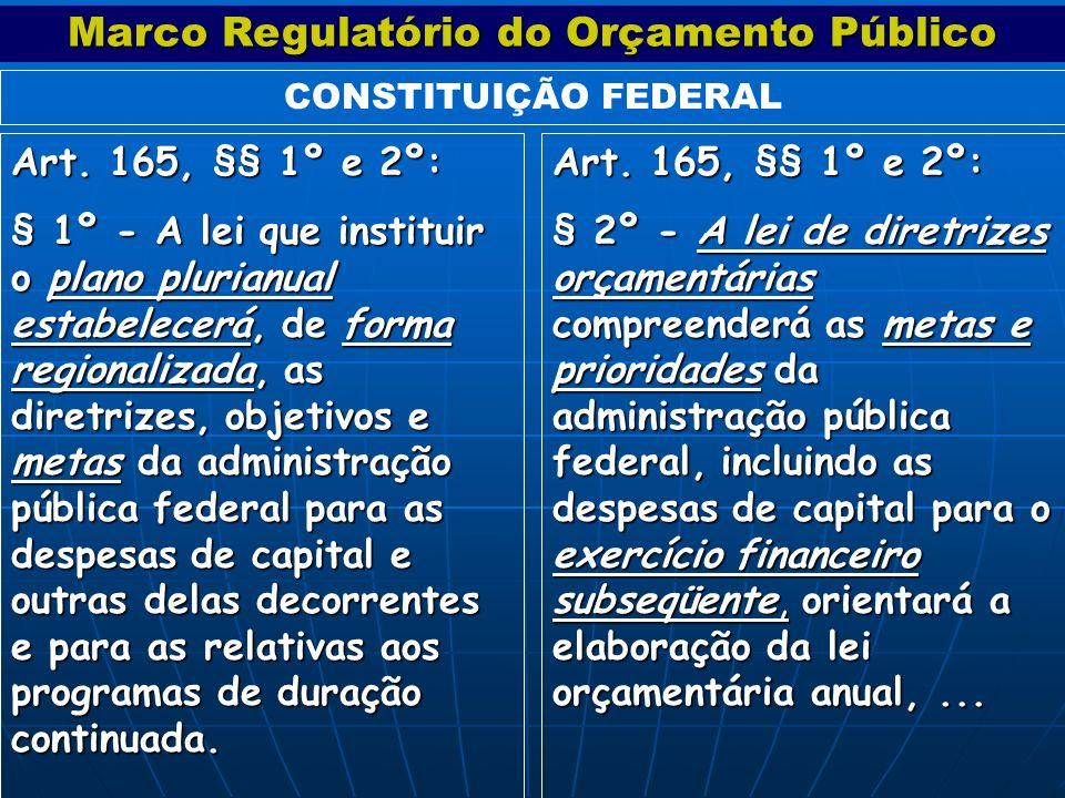 Art. 165, §§ 1º e 2º: § 2º - A lei de diretrizes orçamentárias compreenderá as metas e prioridades da administração pública federal, incluindo as desp