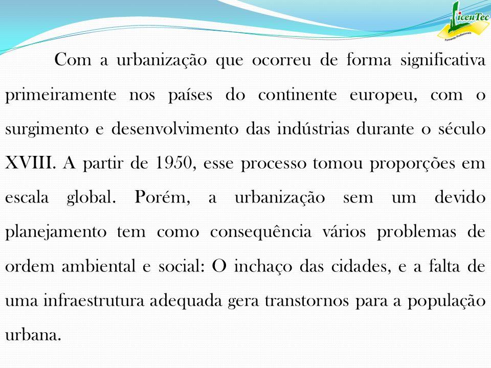 Com a urbanização que ocorreu de forma significativa primeiramente nos países do continente europeu, com o surgimento e desenvolvimento das indústrias
