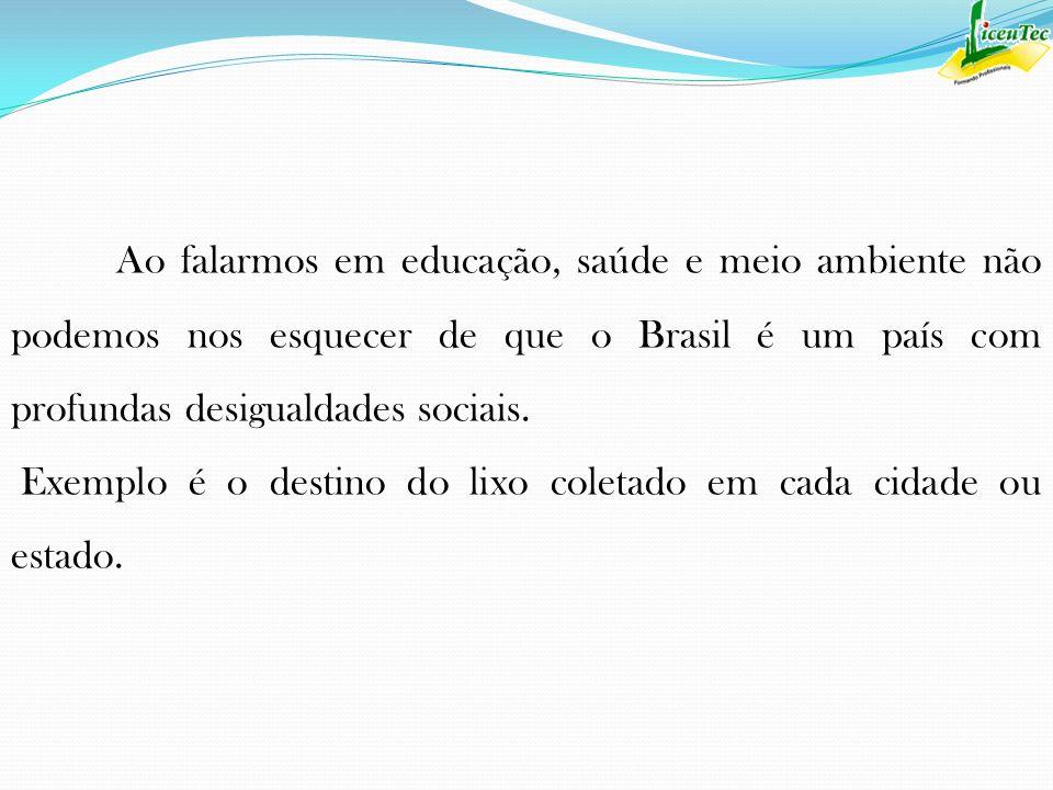 Ao falarmos em educação, saúde e meio ambiente não podemos nos esquecer de que o Brasil é um país com profundas desigualdades sociais. Exemplo é o des