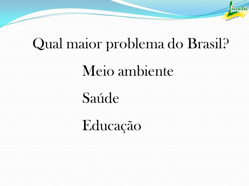 Qual maior problema do Brasil? Meio ambiente Saúde Educação