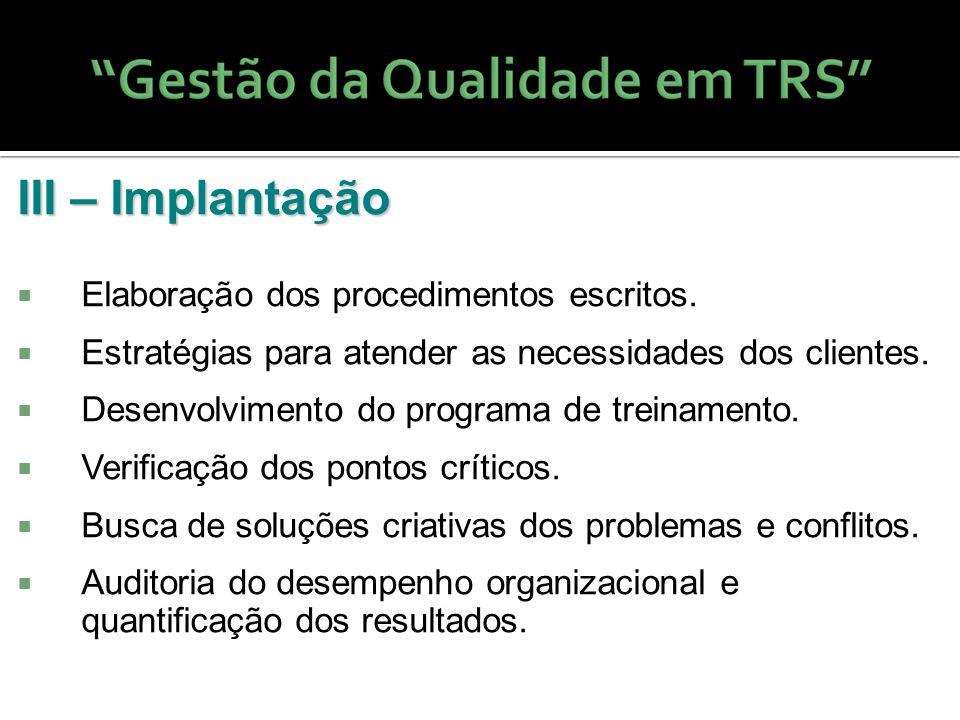 III – Implantação Elaboração dos procedimentos escritos. Estratégias para atender as necessidades dos clientes. Desenvolvimento do programa de treinam