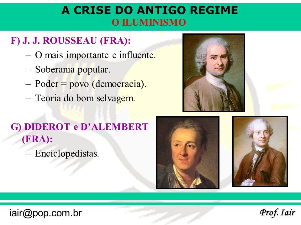 A CRISE DO ANTIGO REGIME Prof. Iair iair@pop.com.br O ILUMINISMO F) J. J. ROUSSEAU (FRA): –O mais importante e influente. –Soberania popular. –Poder =