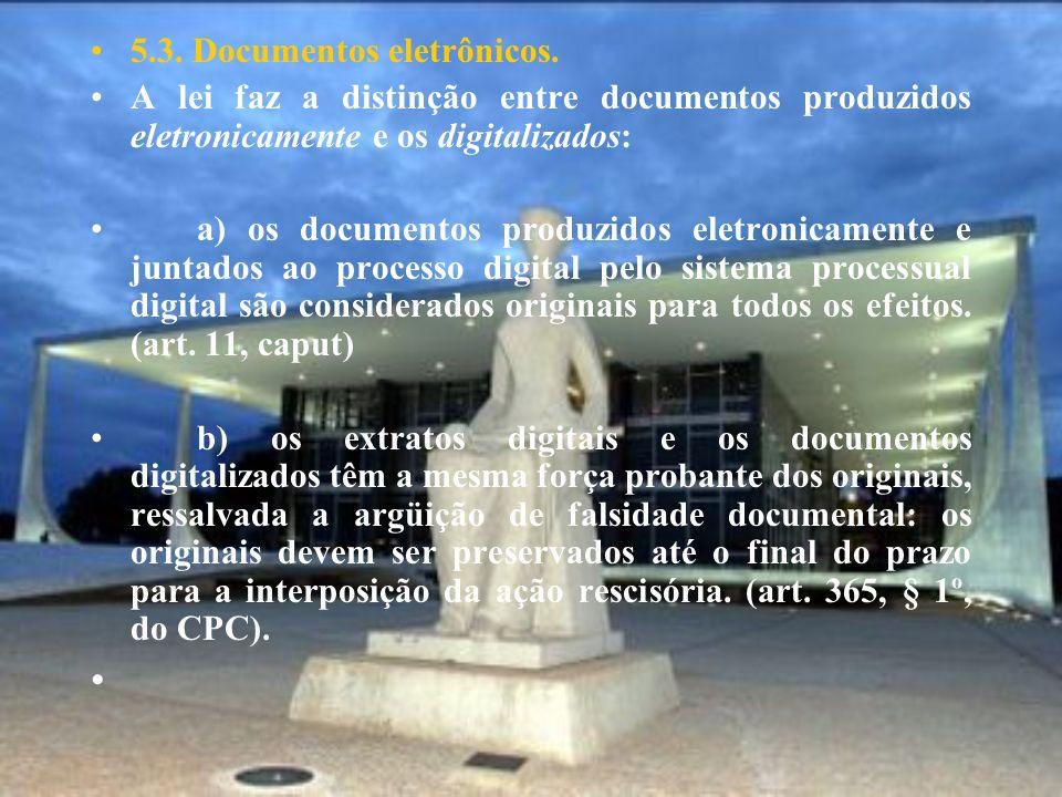 5.3. Documentos eletrônicos. A lei faz a distinção entre documentos produzidos eletronicamente e os digitalizados: a) os documentos produzidos eletron