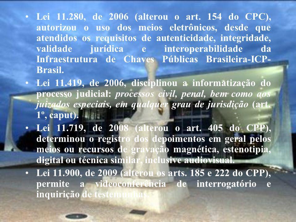 Lei 11.280, de 2006 (alterou o art. 154 do CPC), autorizou o uso dos meios eletrônicos, desde que atendidos os requisitos de autenticidade, integridad